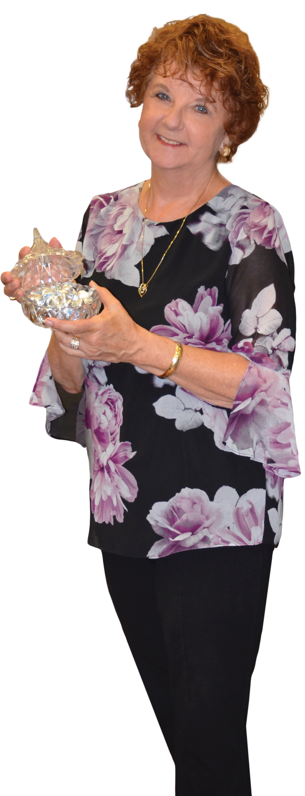 Margie holding a candy dish